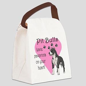 Pit Bulls Pawprints Canvas Lunch Bag