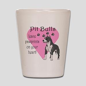 Pit Bulls Pawprints Shot Glass
