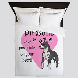 Pit Bulls Pawprints Queen Duvet