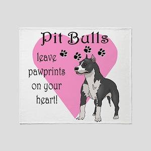 Pit Bulls Pawprints Throw Blanket