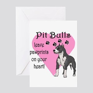 Pit Bulls Pawprints Greeting Card