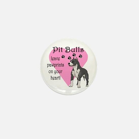 Pit Bulls Pawprints Mini Button