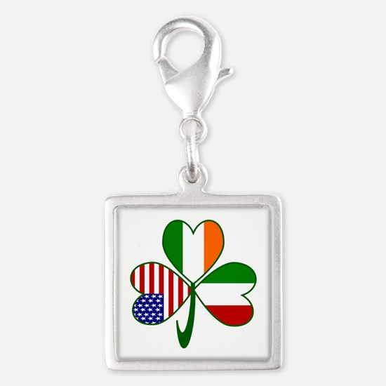 Shamrock of Italy Silver Square Charm