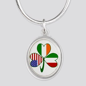 Shamrock of Italy Silver Oval Necklace