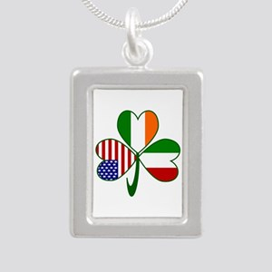 Shamrock of Italy Silver Portrait Necklace
