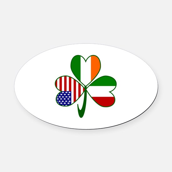 Shamrock of Italy Oval Car Magnet