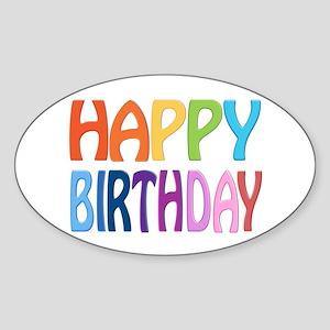 happy birthday - happy Sticker (Oval 10 pk)