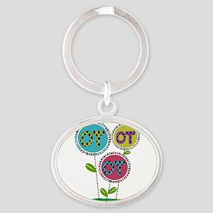 OT FLOWERS FINISHED 1 Oval Keychain