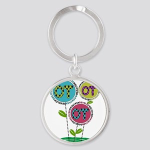 OT FLOWERS FINISHED 1 Round Keychain