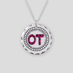 OT PENDANT FUSCHIA Necklace Circle Charm