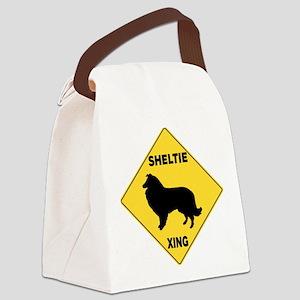 Shetland Sheepdog Crossing Sign Canvas Lunch Bag