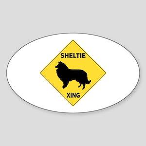 Shetland Sheepdog Crossing Sign Sticker (Oval)