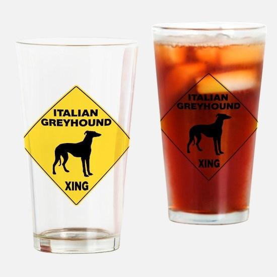 Italian Greyhound Crossing Sign Drinking Glass