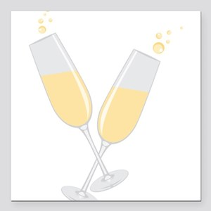 "Champagne Square Car Magnet 3"" x 3"""
