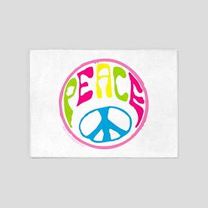 Hippie Peace Sign 5'x7'Area Rug
