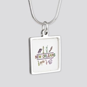 New Orleans Mardi Gras Silver Square Necklace