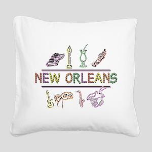 New Orleans Mardi Gras Square Canvas Pillow