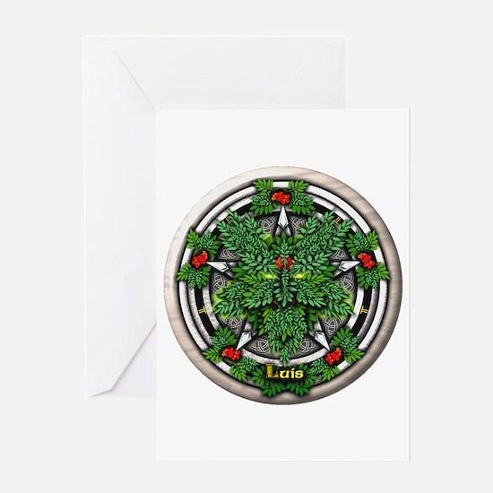 Rowan Celtic Greenman Pentacle Greeting Card