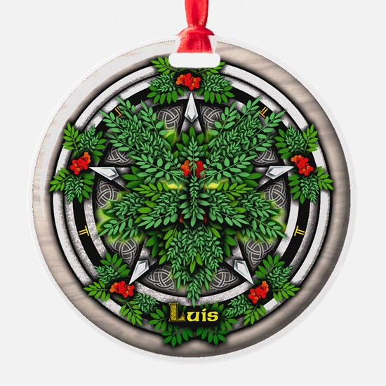 Rowan Celtic Greenman Pentacle Ornament