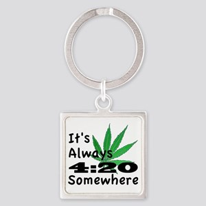 420 Square Keychain