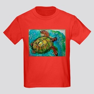 Sea turtle! Wildlife art! Kids Dark T-Shirt