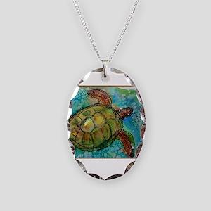 Sea turtle! Wildlife art! Necklace Oval Charm