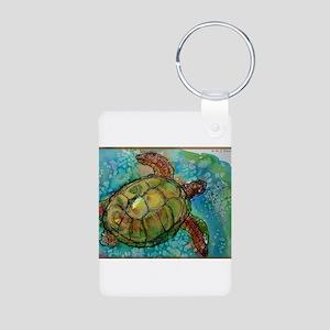 Sea turtle! Wildlife art! Aluminum Photo Keychain