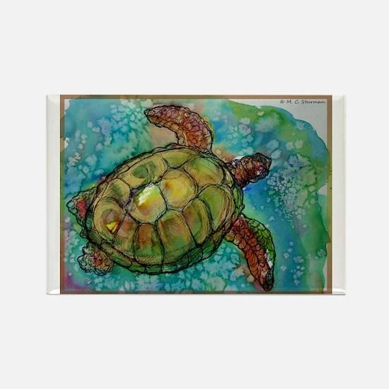 Sea turtle! Wildlife art! Rectangle Magnet (100 pa