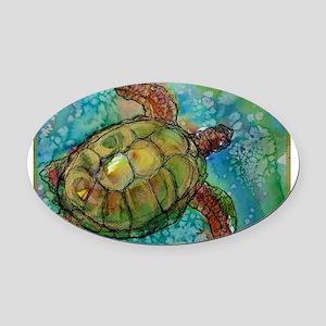 Sea turtle! Wildlife art! Oval Car Magnet