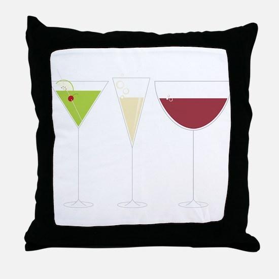 Drink Trio Throw Pillow