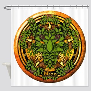 Ash Celtic Greenman Pentacle Shower Curtain