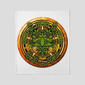 Ash Celtic Greenman Pentacle Throw Blanket