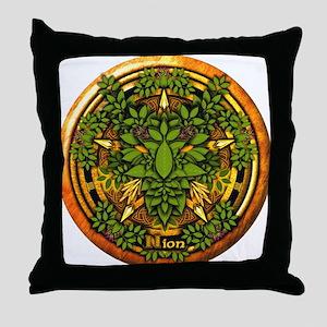 Ash Celtic Greenman Pentacle Throw Pillow