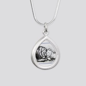 Lions! Wildlife art! Silver Teardrop Necklace