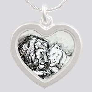 Lions! Wildlife art! Silver Heart Necklace