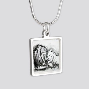 Lions! Wildlife art! Silver Square Necklace