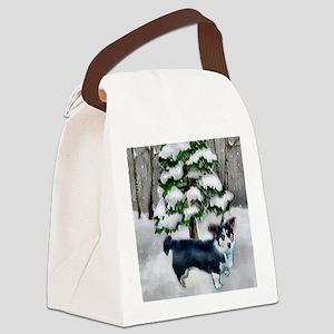 Cardigan Welsh Corgi Christmas Canvas Lunch Bag