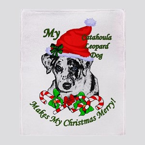 Catahoula Leopard Dog Christmas Throw Blanket