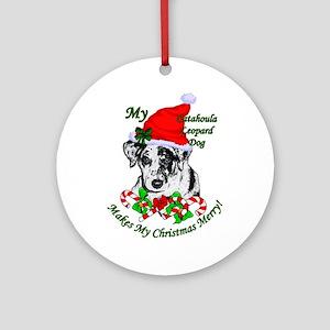 Catahoula Leopard Dog Christmas Round Ornament