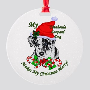 Catahoula Leopard Dog Christmas Round Ornament
