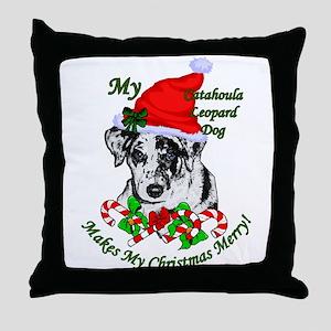 Catahoula Leopard Dog Christmas Throw Pillow