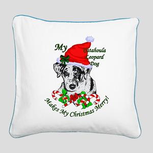 Catahoula Leopard Dog Christm Square Canvas Pillow