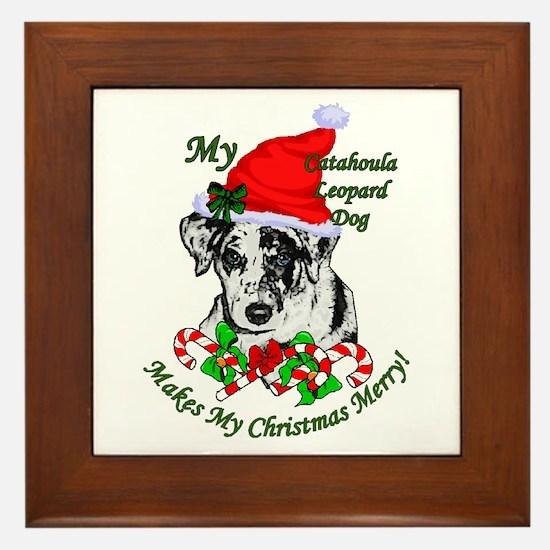 Catahoula Leopard Dog Christmas Framed Tile