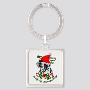 Catahoula Leopard Dog Christmas Square Keychain