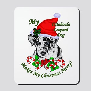 Catahoula Leopard Dog Christmas Mousepad