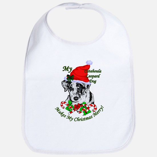 Catahoula Leopard Dog Christmas Cotton Baby Bib