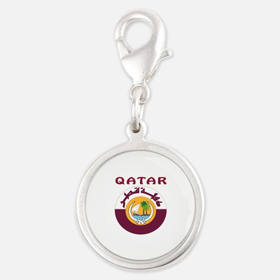 Qatar Coat of arms Silver Round Charm