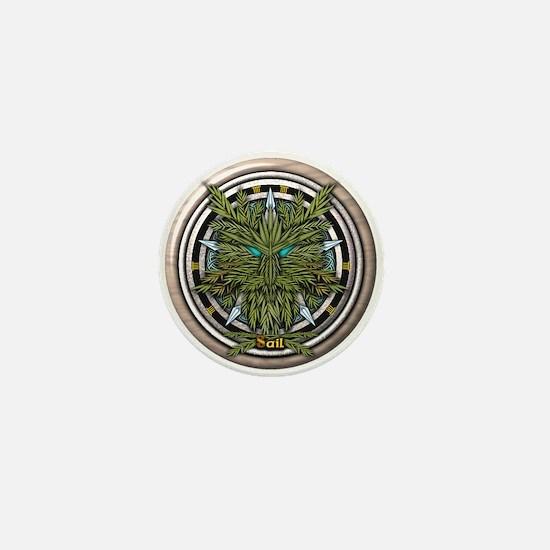 Willow Celtic Greenman Pentacle Mini Button