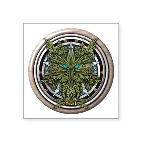 Willow Celtic Greenman Pentacle Square Sticker 3