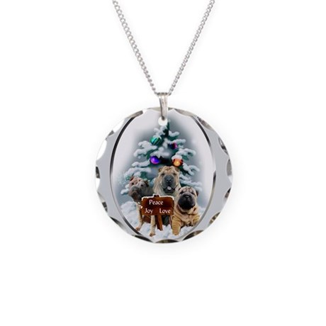 Chinese Shar-Pei Christmas Necklace Circle Charm